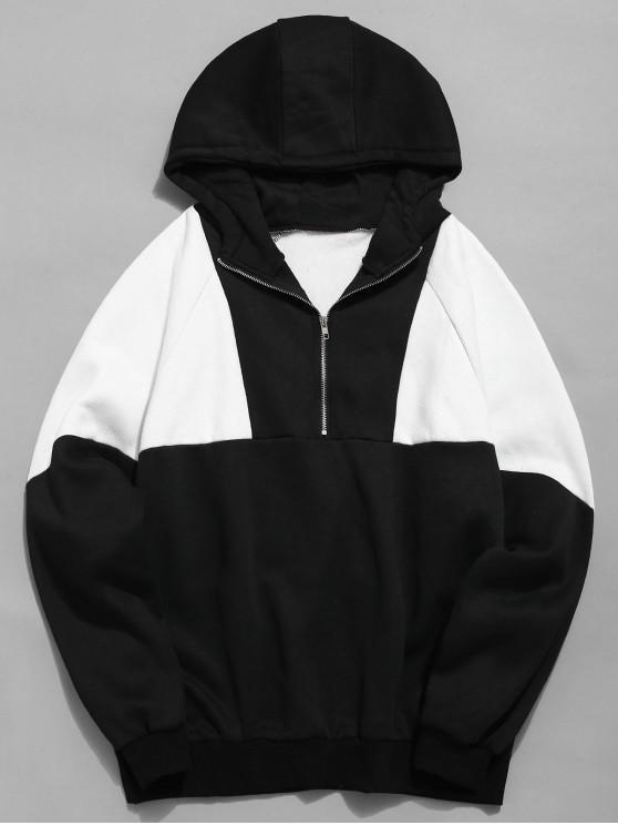 Halber Reißverschluss Color Block Fleece Hoodie - Schwarz XL
