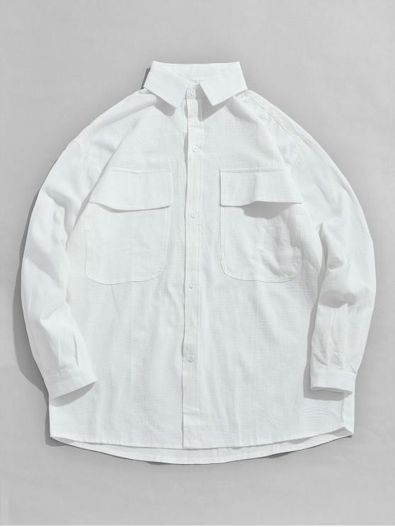 womens Button Fly Chest Pockets Jacket - WHITE M
