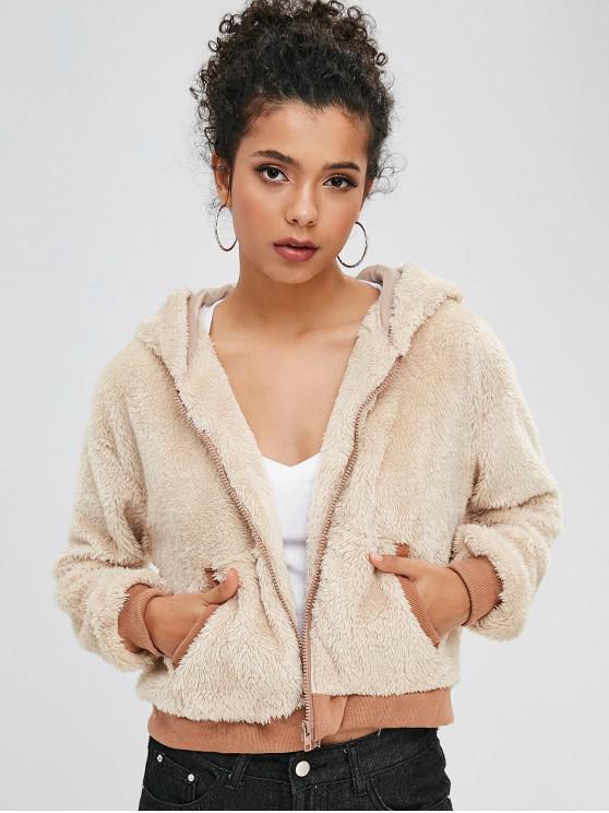 outfit Color Block Drop Shoulder Fluffy Teddy Jacket - VANILLA S