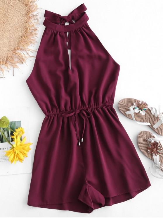 shop ZAFUL Tie Back Keyhole Flowy Romper - PLUM PIE L
