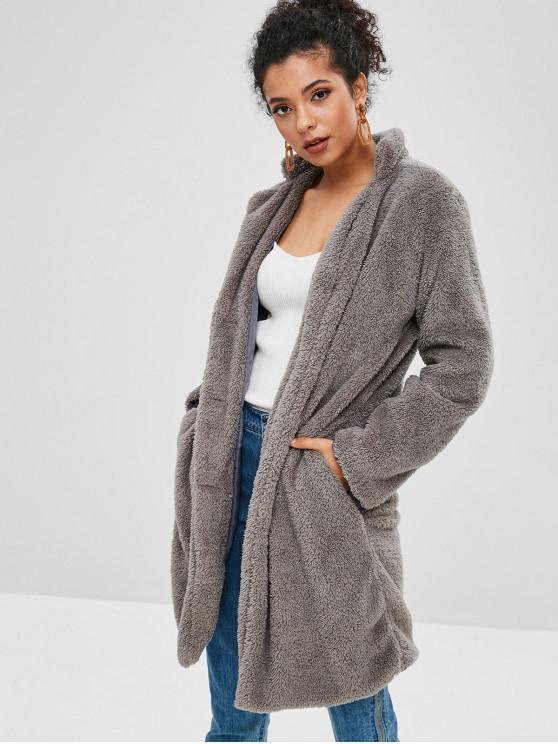 Abrigo de un solo pecho de piel de oveja esponjoso - Gris S