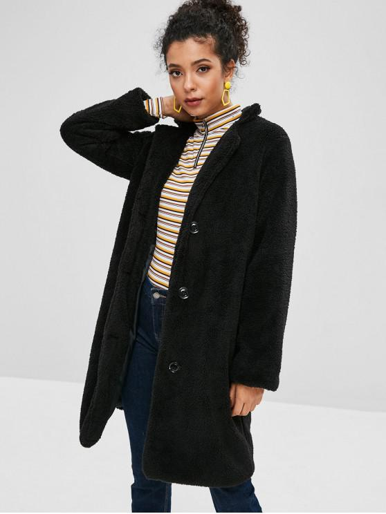 womens Fluffy Shearling Single Breasted Coat - BLACK S