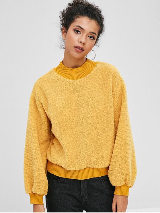 Sweat-shirt Fourré en Blocs de Couleurs - Verge d'Or M