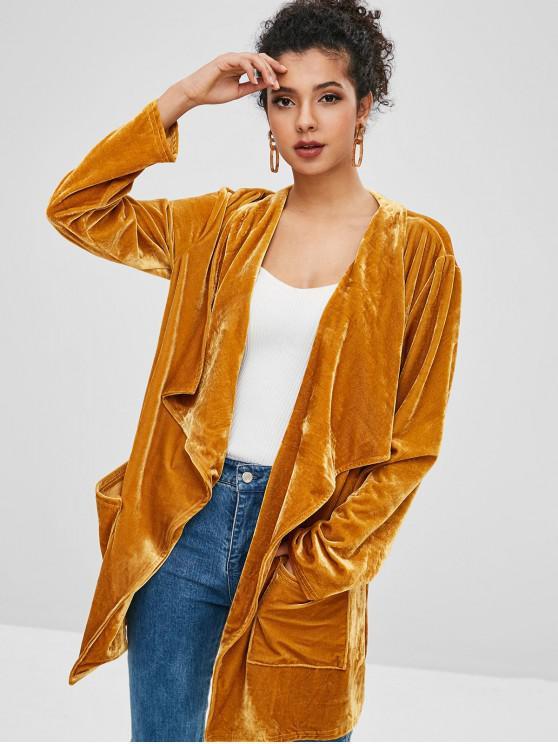new Pockets Open Front Velvet Coat - COOKIE BROWN XL