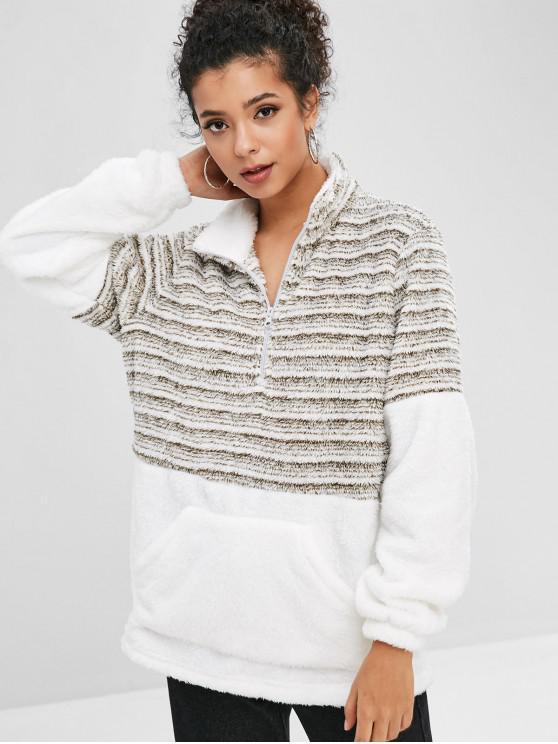 Half Zip Kontraststreifen-Teddy-Sweatshirt - Weiß XL