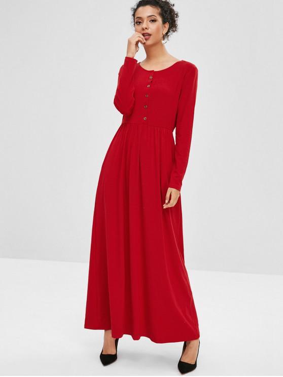 womens Half Button Plain Maxi Dress - RED M