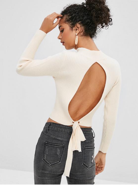 ZAFUL Open Back Kockted suéter con cuello simulado - Beige Talla única