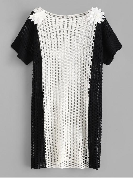 women's Two Tone Flower Applique Crochet Dress - MULTI-A ONE SIZE