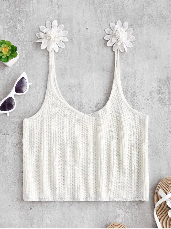 Top de camuflaje de flores de ganchillo - Blanco S