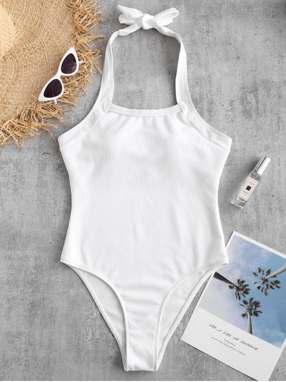 latest ZAFUL Halter High Cut Ribbed Swimsuit - WHITE S
