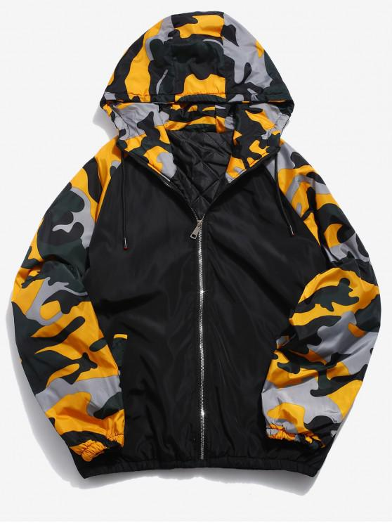 shops Camo Patchwork Padded Jacket - YELLOW XL