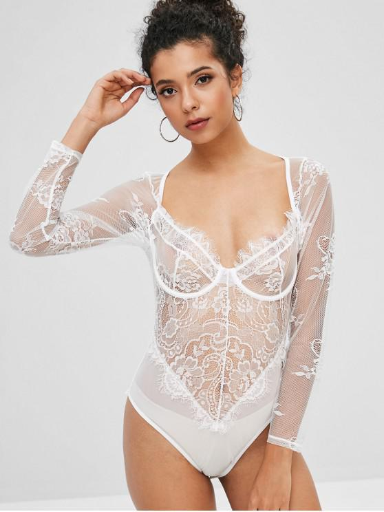 lady Back Zipper Lace Panel Bodysuit - WHITE S