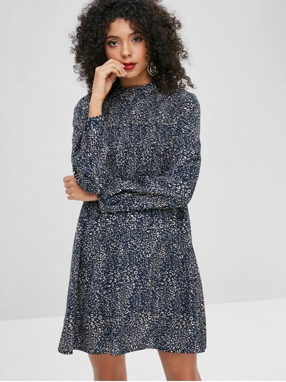 Leopardo smocked imprimir um vestido de linha - Azul Escuro L