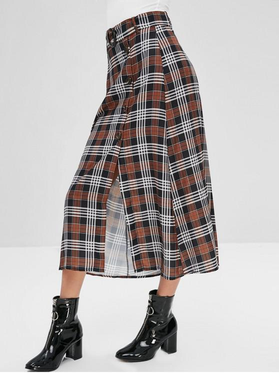 ladies Button Up Plaid Belted A Line Skirt - MULTI M