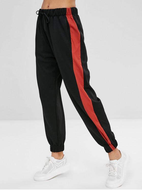 Calças Listradas Cintura Listrada - Preto S