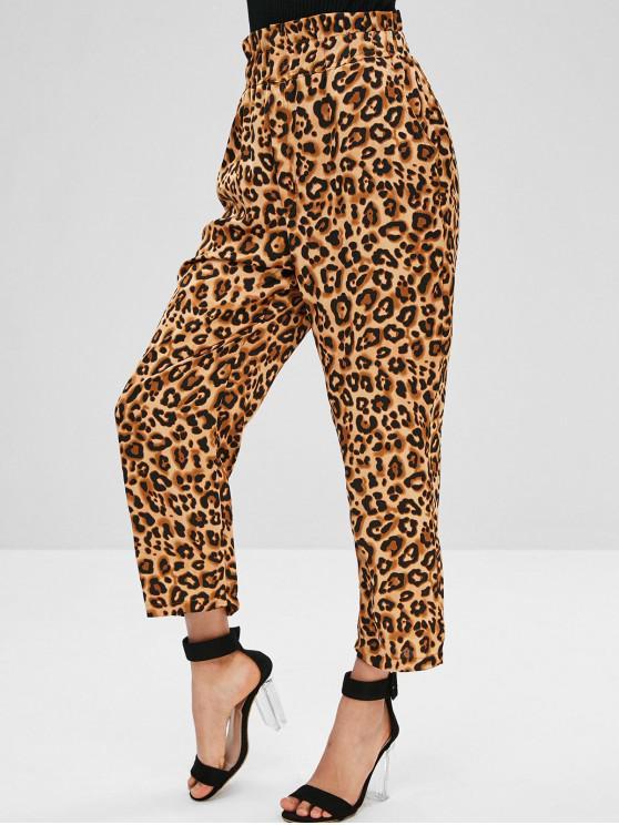 Calças retas de babados com estampa de leopardo - Leopardo L