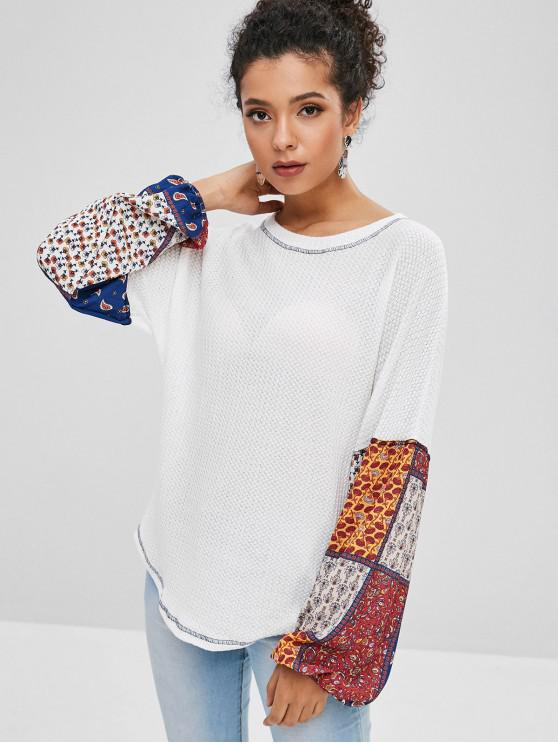 trendy Drop Shoulder Loose Printed Top - WHITE M