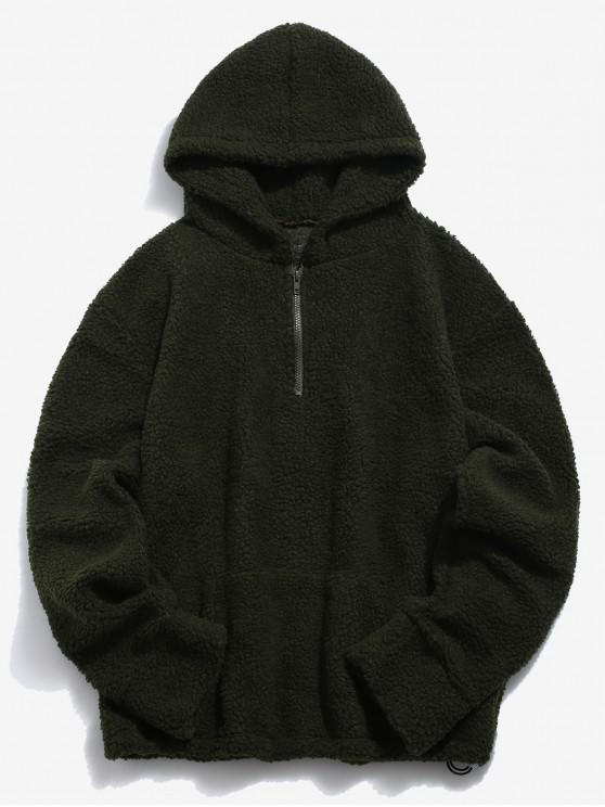 latest Solid Pocket Fluffy Hoodie - ARMY GREEN L