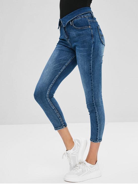 womens Mid Waist Zipper Fly Capri Jeans - JEANS BLUE L