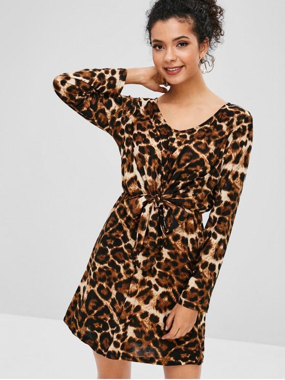 women's Tied Waist Leopard A Line Dress - LEOPARD M