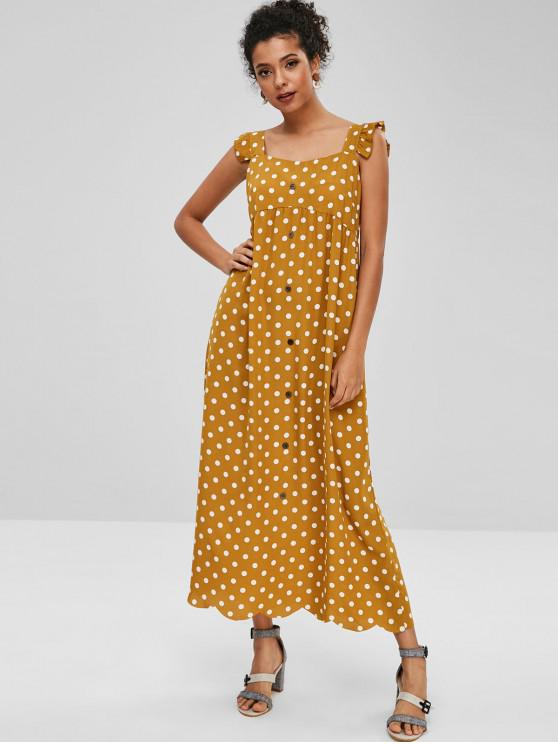 ladies Sleeveless Polka Dot Maxi Ruffled Dress - ORANGE GOLD XL