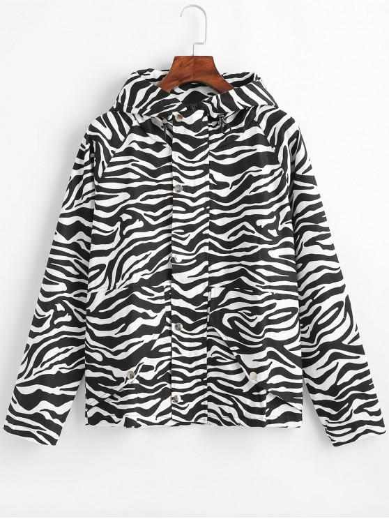 fancy Zebra Hooded Raglan Sleeve Jacket - BLACK L