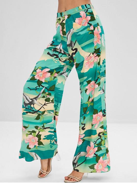 Calças de perna larga de impressão Floral de guindaste - Multi S
