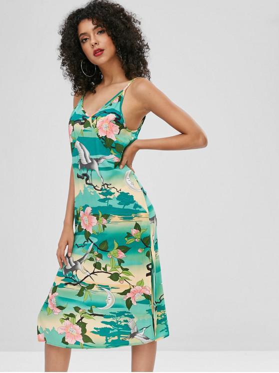 unique Crane Floral Print Slits Cami Dress - MULTI M