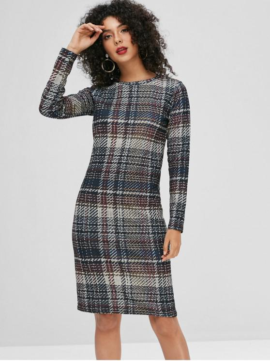 Mangas compridas manta xadrez vestido - Multi M