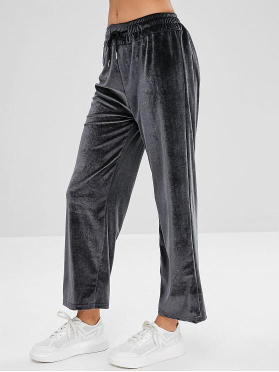 lady Drawstring Velvet Pants - GRAY L