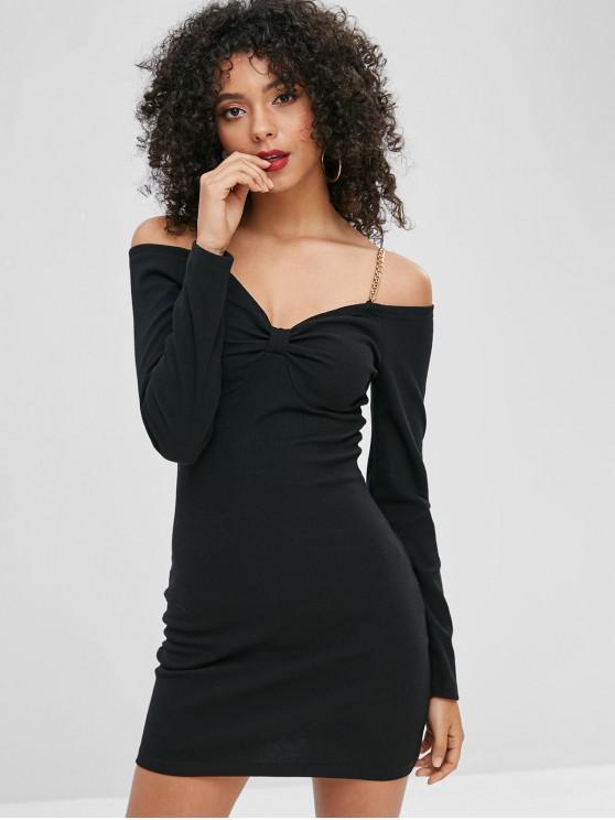 Vestito Aderente A Costine Con Catene A Spalle Scoperte - Nero L
