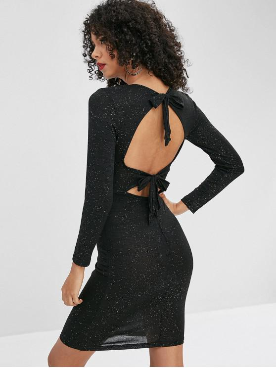 online Sequined Open Back Bodycon Dress - BLACK M