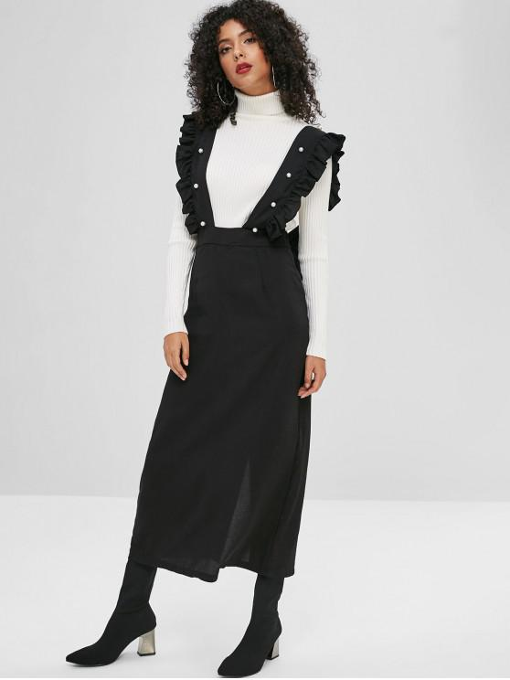 outfits Faux Pearls Ruffles Slit Suspender Skirt - BLACK S