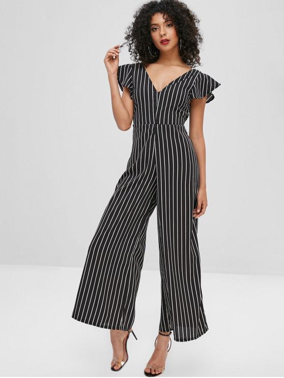 womens Stripes Open Back Wide Leg Jumpsuit - BLACK S