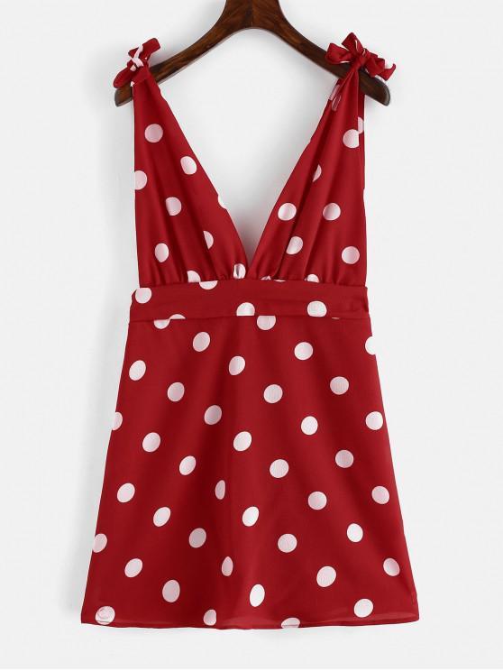 hot ZAFUL Tied Straps Polka Dot Mini Dress - LAVA RED S