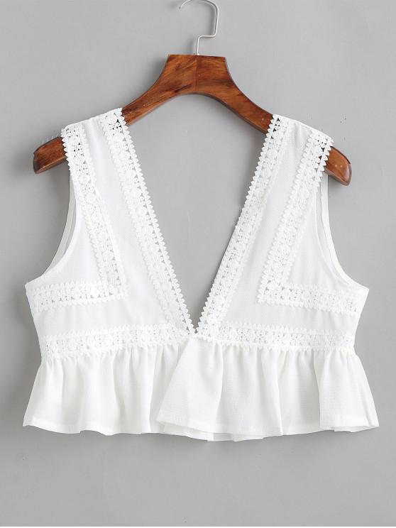 hot Plunging Crochet Flounce Tank Top - WHITE S