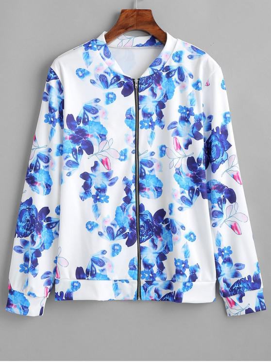 online Flower Zipper Jacket - BLUE 2XL