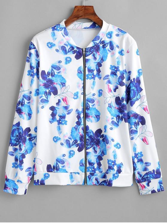 chic Flower Zipper Jacket - BLUE XL