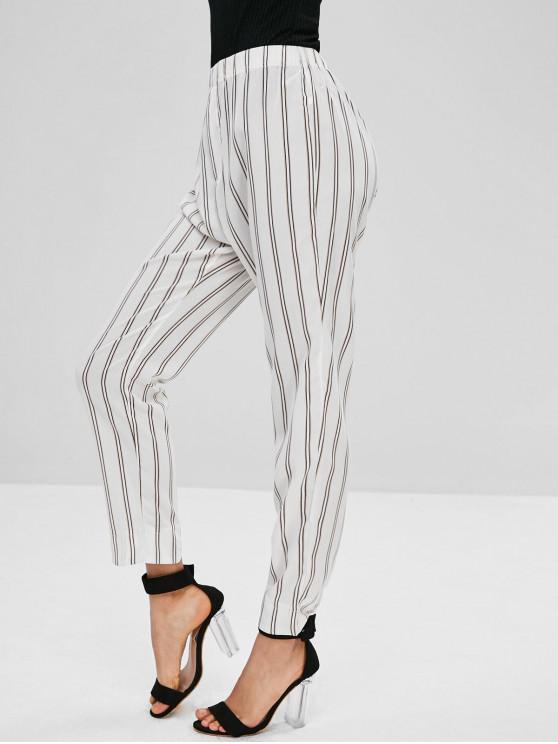 Calças de Listras Retas de Cintura Alta - Branco S
