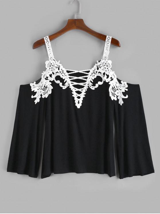 affordable Plus Size Crochet Criss Cross Plunging T-shirt - BLACK 5X