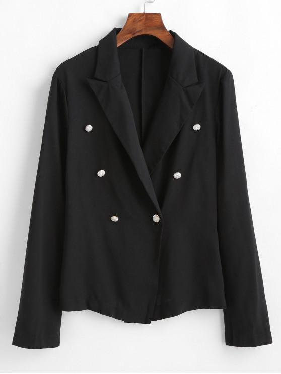 trendy Button Embellished Lapel Blazer - BLACK M