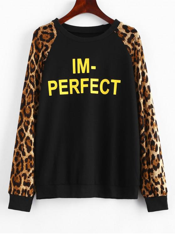 chic Leopard Sleeve Letter Graphic Print Sweatshirt - BLACK S