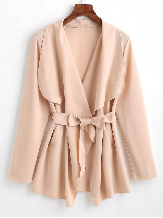 fancy Belted Pocket Coat - APRICOT M