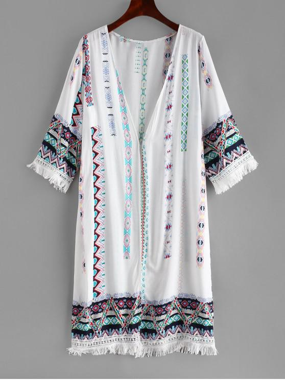 Kimono De Playa Con Flecos Impreso - Blanco Única Talla