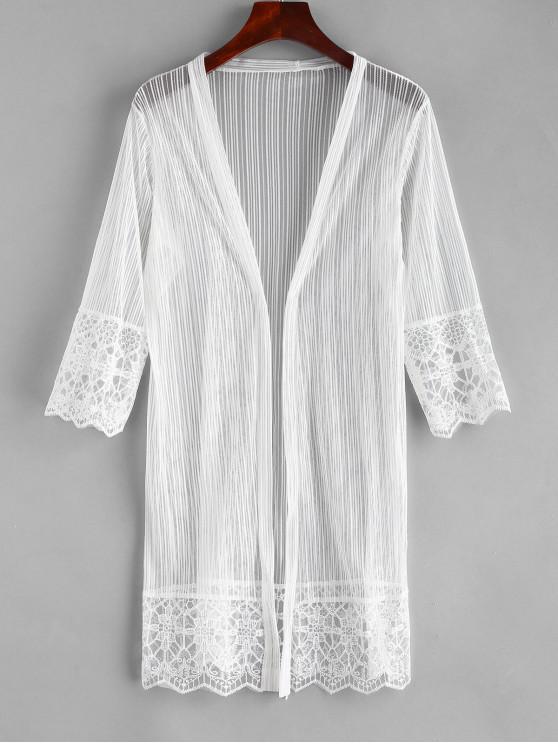 0fe39de968 23% OFF] 2019 Embroidered Beach Kimono In WHITE | ZAFUL Europe