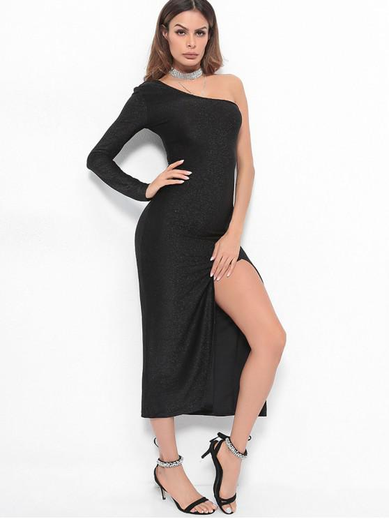 a527182d485 21% OFF] 2019 High Slit One Shoulder Maxi Dress In BLACK | ZAFUL