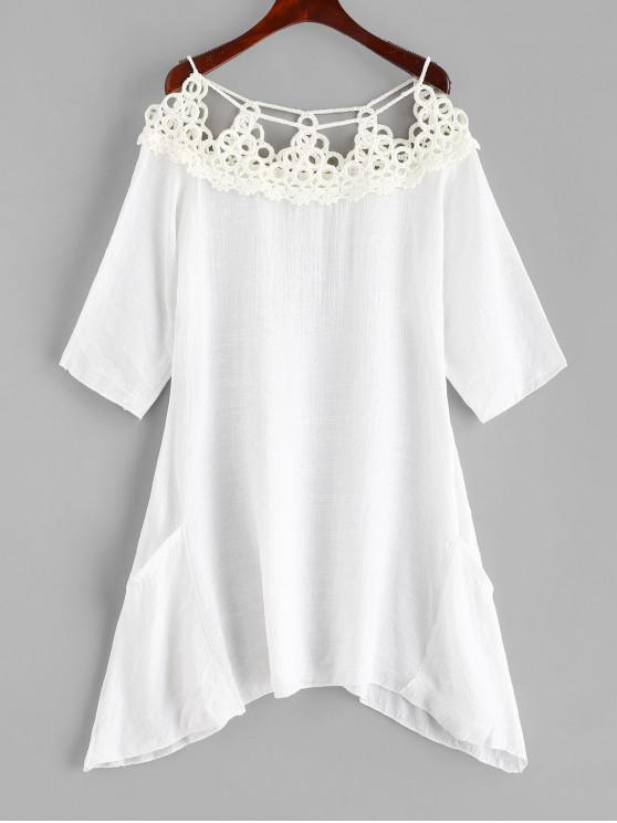 women Crocheted Panel Cover-up Dress - WHITE ONE SIZE