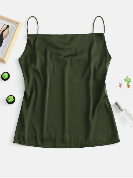 Camisola de alças lisa de ZaFUL Satin Cami - Exército verde Um Tamanho