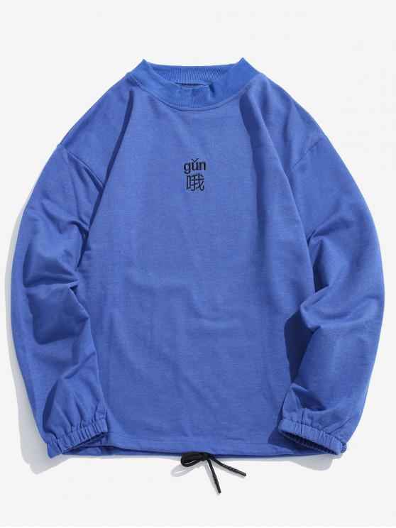 T-shirt Caractère Brodé Ourlet à Cordon - Bleu XL