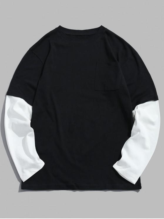 T-Shirt Bicolore Con Spalle Oblique - Nero 2XL